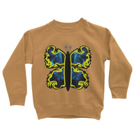 Cosmic Yellow Butterfly Kids Sweatshirt 3-4 Years / Orange Crush Apparel