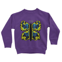 Cosmic Yellow Butterfly Kids Sweatshirt 3-4 Years / Purple Apparel