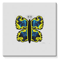 Cosmic Yellow Butterfly Stretched Eco-Canvas 10X10 Wall Decor
