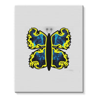 Cosmic Yellow Butterfly Stretched Eco-Canvas 11X14 Wall Decor
