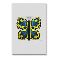 Cosmic Yellow Butterfly Stretched Eco-Canvas 20X30 Wall Decor