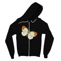 Cream Orange Butterfly Fine Jersey Zip Hoodie S / Black Apparel