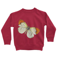 Cream Orange Butterfly Kids Sweatshirt 3-4 Years / Fire Red Apparel