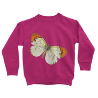 Cream Orange Butterfly Kids Sweatshirt 3-4 Years / Hot Pink Apparel