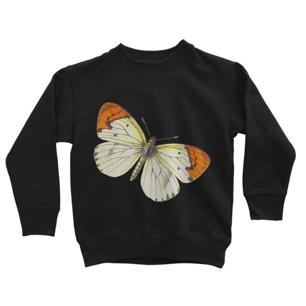Cream Orange Butterfly Kids Sweatshirt 3-4 Years / Jet Black Apparel