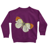 Cream Orange Butterfly Kids Sweatshirt 3-4 Years / Plum Apparel
