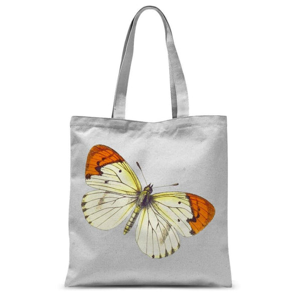 Cream Orange Butterfly Sublimation Tote Bag 15X16.5 Accessories