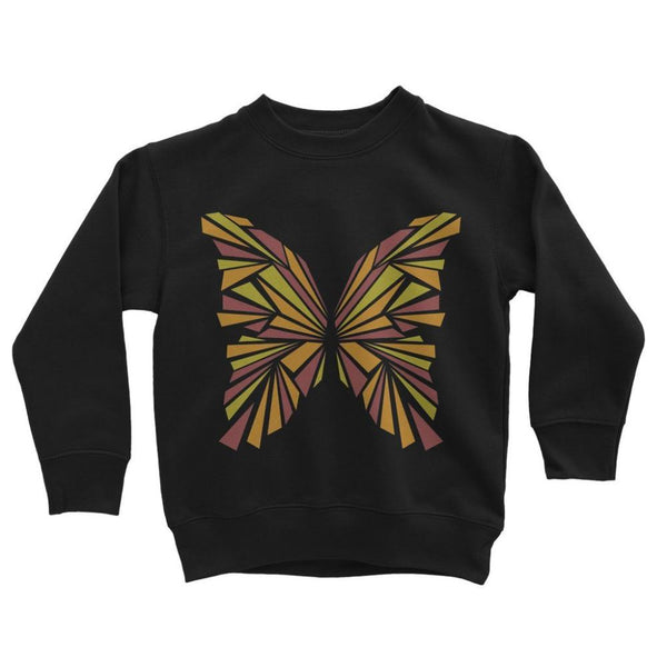 Crystal Orange Butterfly Kids Sweatshirt 3-4 Years / Jet Black Apparel