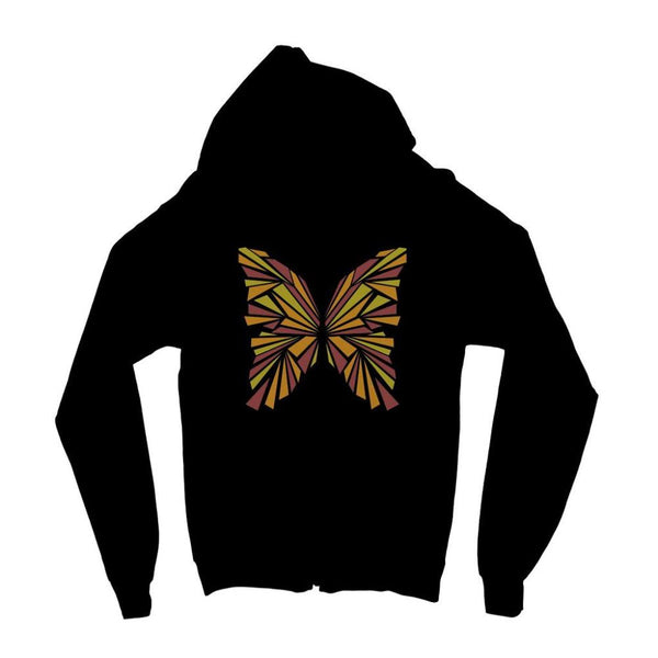 Crystal Orange Butterfly Kids Zip Hoodie 3-4 Years / Jet Black Apparel
