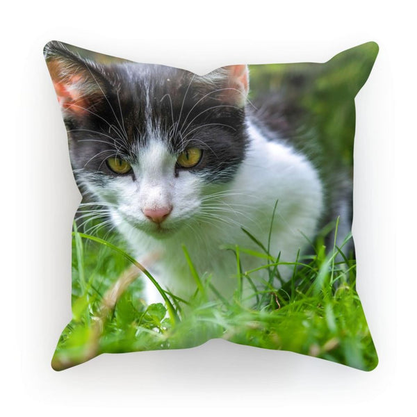 Cute Cat In Yard Closeup Cushion Linen / 12X12 Homeware