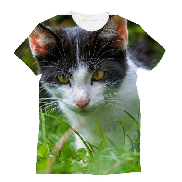 Cute Cat In Yard Closeup Sublimation T-Shirt S Apparel