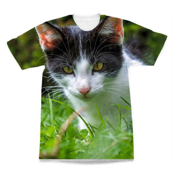 Cute Cat In Yard Closeup Sublimation T-Shirt Xs Apparel