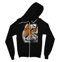 Cute Close-Up Picture Tiger Fine Jersey Zip Hoodie S / Black Apparel