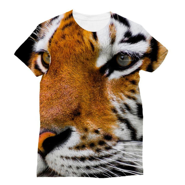 Cute Close-Up Picture Tiger Sublimation T-Shirt Xs Apparel