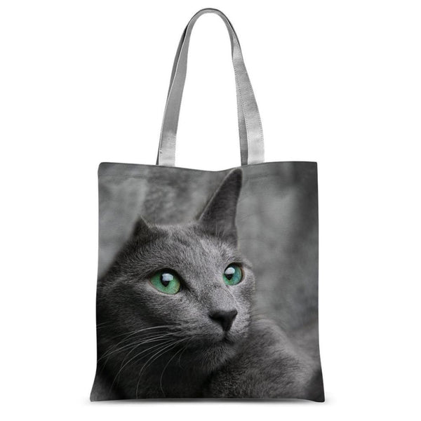 Cute Grey Cat Sublimation Tote Bag 15X16.5 Accessories