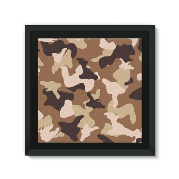 Desert Camo Sand Framed Canvas 12X12 Wall Decor