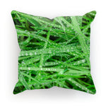 Dew On Blades Of Lush Grass Cushion Linen / 12X12 Homeware