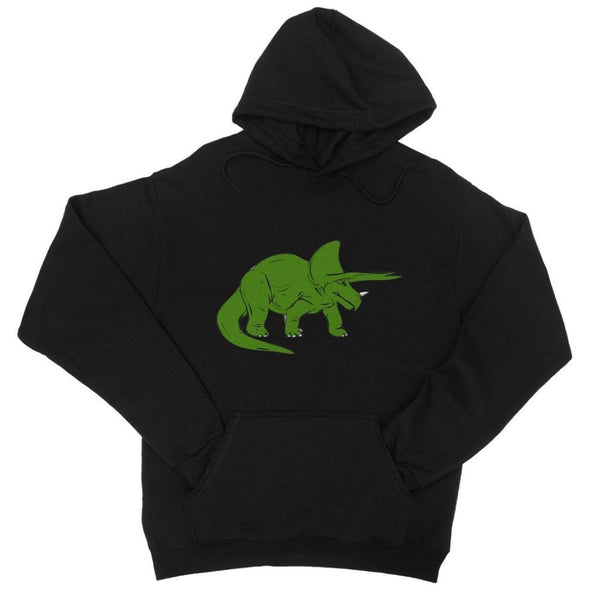 Drawn Triceratops Dinosaur College Hoodie Xs / Black Apparel