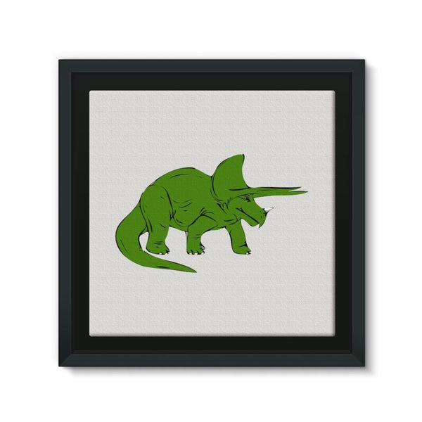 Drawn Triceratops Dinosaur Framed Eco-Canvas 10X10 Wall Decor