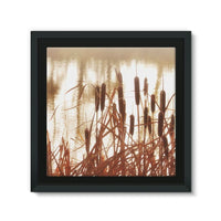 Dry Bushes Near The River Framed Canvas 12X12 Wall Decor