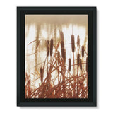 Dry Bushes Near The River Framed Canvas 12X16 Wall Decor