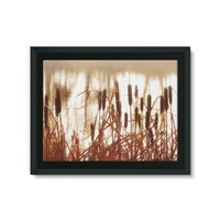 Dry Bushes Near The River Framed Canvas 24X18 Wall Decor