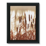 Dry Bushes Near The River Framed Canvas 24X32 Wall Decor