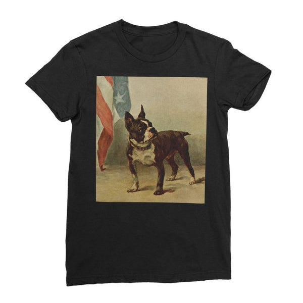 Earl Maud (1864-1943) - The Power Of The Dog 1910 (Boston Terrier) Womens Fine Jersey T-Shirt S / Black Apparel
