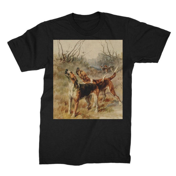 Earl Maud (1864-1943) - The Power Of The Dog 1910 (Foxhounds) Unisex Fine Jersey T-Shirt S / Black Apparel