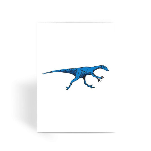 Fast Blue Dinosaur Greeting Card 1 Prints