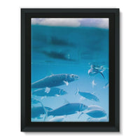 Fishes Under Water Framed Canvas 12X16 Wall Decor