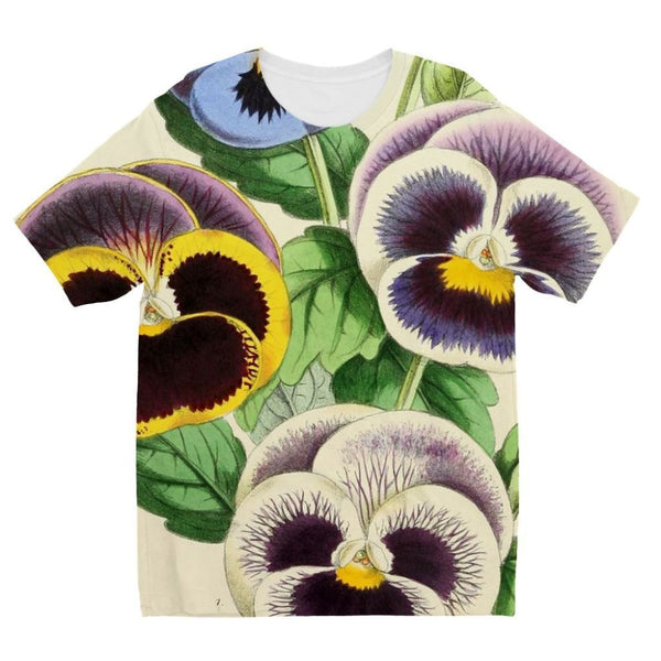 Floral Magazine 1869 Pansies Kids Sublimation T-Shirt 3-4 Years Apparel