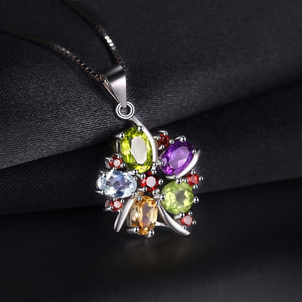 Flower 3.1Ct Natural Amethyst Garnet Peridot Citrine Blue Topaz Pendant Necklace