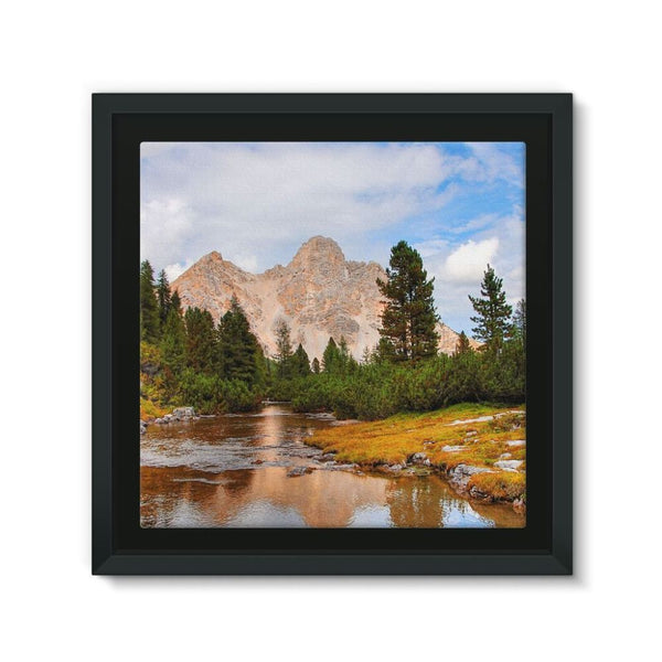 Flowing River With Sky Framed Canvas 12X12 Wall Decor