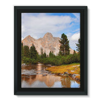 Flowing River With Sky Framed Eco-Canvas 11X14 Wall Decor