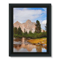 Flowing River With Sky Framed Eco-Canvas 18X24 Wall Decor