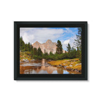 Flowing River With Sky Framed Eco-Canvas 24X18 Wall Decor