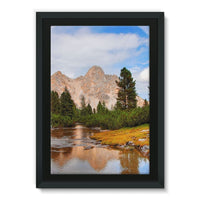 Flowing River With Sky Framed Eco-Canvas 24X36 Wall Decor