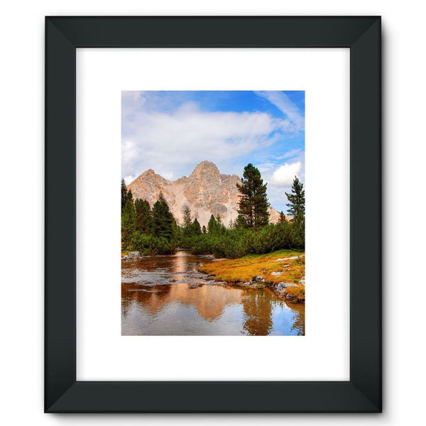 Flowing River With Sky Framed Fine Art Print 12X16 / Black Wall Decor