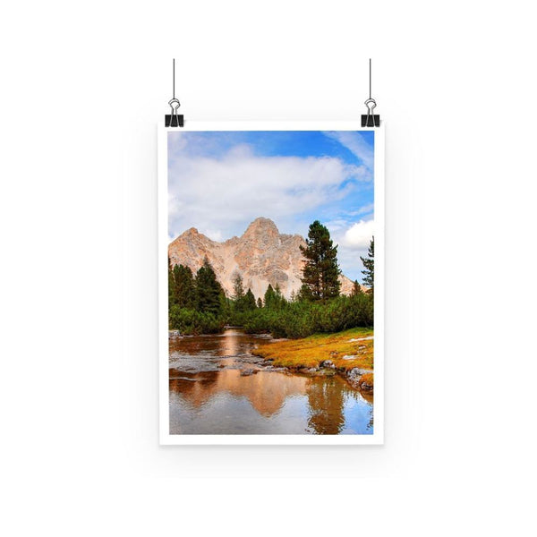 Flowing River With Sky Poster A3 Wall Decor
