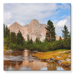 Flowing River With Sky Stretched Canvas 10X10 Wall Decor