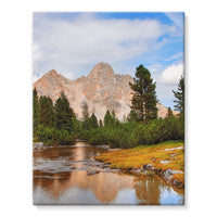 Flowing River With Sky Stretched Eco-Canvas 11X14 Wall Decor