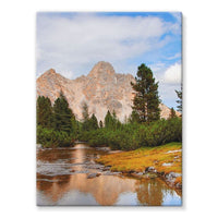 Flowing River With Sky Stretched Eco-Canvas 18X24 Wall Decor