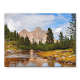Flowing River With Sky Stretched Eco-Canvas 24X18 Wall Decor
