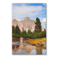 Flowing River With Sky Stretched Eco-Canvas 24X36 Wall Decor