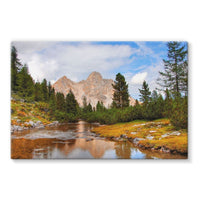 Flowing River With Sky Stretched Eco-Canvas 30X20 Wall Decor