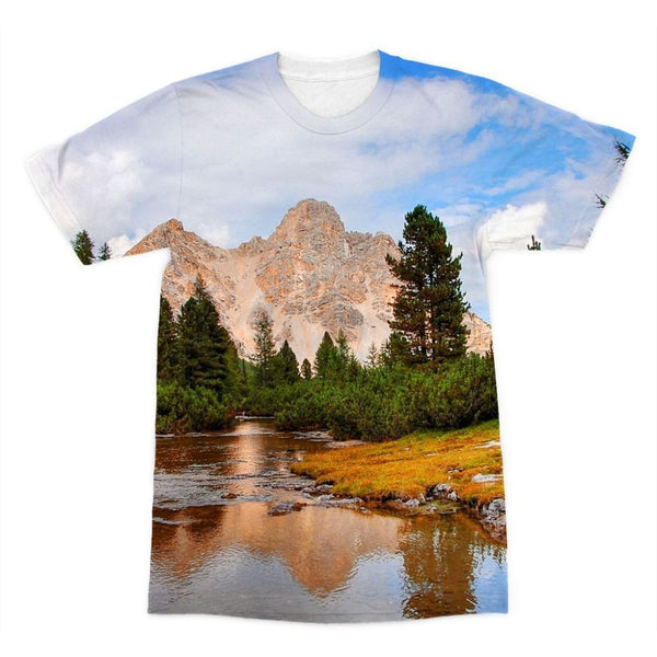 Flowing River With Sky Sublimation T-Shirt Xs Apparel