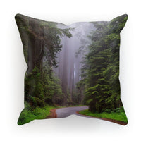 Foggy Redwood National Park Cushion Linen / 18X18 Homeware