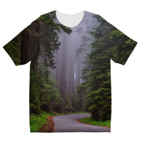Foggy Redwood National Park Kids Sublimation T-Shirt 3-4 Years Apparel
