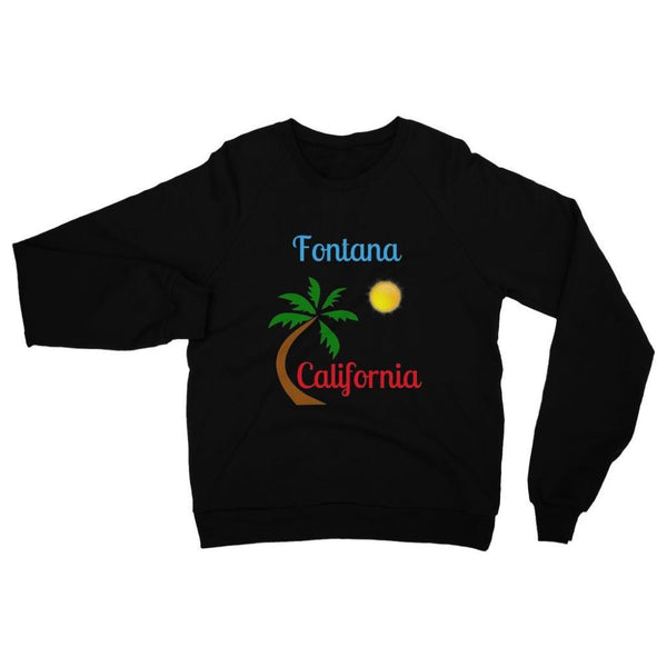 Fontana California Palm Sun Heavy Blend Crew Neck Sweatshirt S / Black Apparel